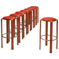 Bruno Rey for Dietiker Set of Eight Red Barstools