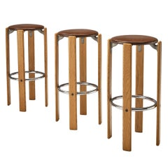 Bruno Rey for Dietiker Set of Three Bar Stools in Leatherette