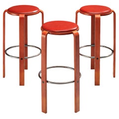 Bruno Rey for Dietiker Set of Three Barstools in Red