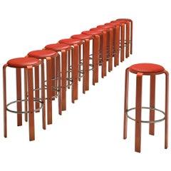 Bruno Rey for Dietiker Set of Twelve Red Barstools