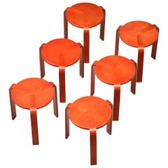 Bruno Rey for Dietiker Stools in Red Plywood