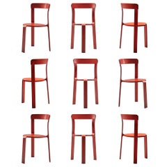 Bruno Rey for Dietiker Tripod Chairs in Red Colored Wood