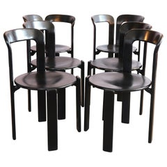 Bruno Rey Set of 6 Black Dining Chairs, of Which 2 Rare Double Back Version
