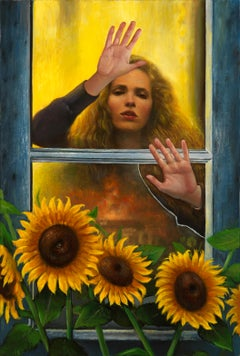 A New Day, Woman Behind Window with Sun Flowers in the Foreground, Oil on Canvas