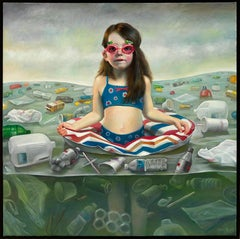 Contaminating the Innocent, Young Girl Swimming Surrounded by Plastic Waste