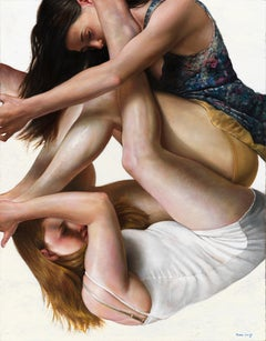 Entanglement - Original Oil Painting of Intertwined Female Figures Floating
