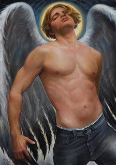 Fallen Angel - Blond, Bare Chested Winged Male, Contemporary Oil Painting