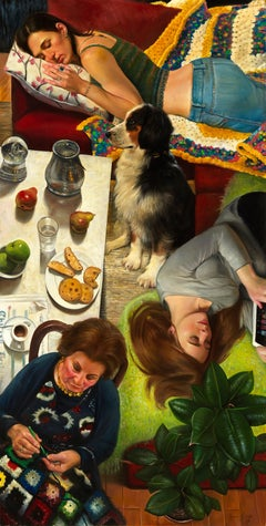 Inner Bliss, Three Women and a Dog, Interior Scene, Bright Colors Oil on Canvas