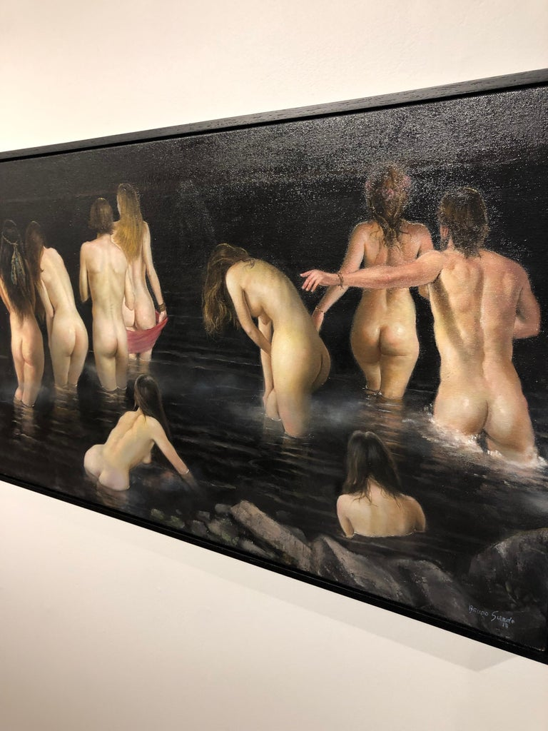 The Abyss - Original Oil Painting of Nude Figures Wandering Into a Body of Water For Sale 7