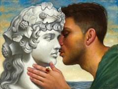The Hidden Love of Hadrian and Antinous, Male Embracing a Statue, Oil on Canvas