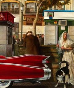 The Lost Bride, Red Cadillac Eldorado, a Bride and a Dog, Urban, Oil on Canvas