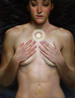 The Oracle, Nude Female with Hands Covering Her Breasts, Long Dark Hair