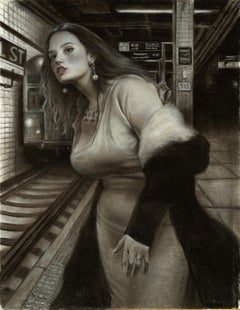 Waiting for the Express, Female Figure in the New York Subway, Charcoal on Paper