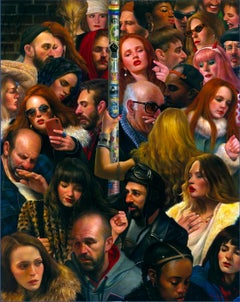 We Are All Connected, Multiplicity of People on a Crowded Subway, Oil on Canvas
