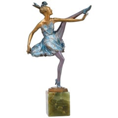"Bruno Zach Bronze ""High Kick"" Designed, circa 1930, Onyx Base"