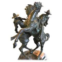 "Bruno Zach Bronze Sculpture Horses and Cowboys ""Chevaux en Cabriole"" Signed 1923"