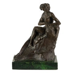 French Bronze Sculpture, Nude Woman, Italy, 19th Century, France