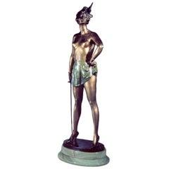 Bruno Zach: 'The Fencer' bronze sculpture