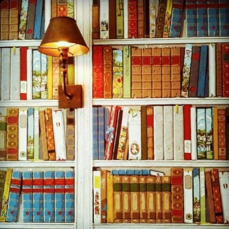"""Brunschwig and Fils Les Biblioteques multi-color library hand-printed wallpaper. Gorgeous, colorful modernist take on the troupe l'oeil tradition. MSRP for a double roll: 1726.20 USD  Measures: Repeat vertical 41.5"""" Repeat horizontal"""
