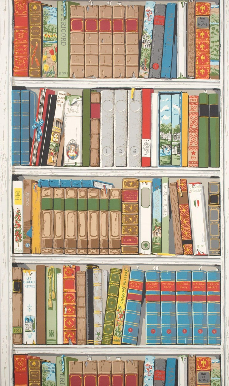Modern Brunschwig and Fils Les Biblioteques Multi Color Library Hand-Printed Wallpaper For Sale