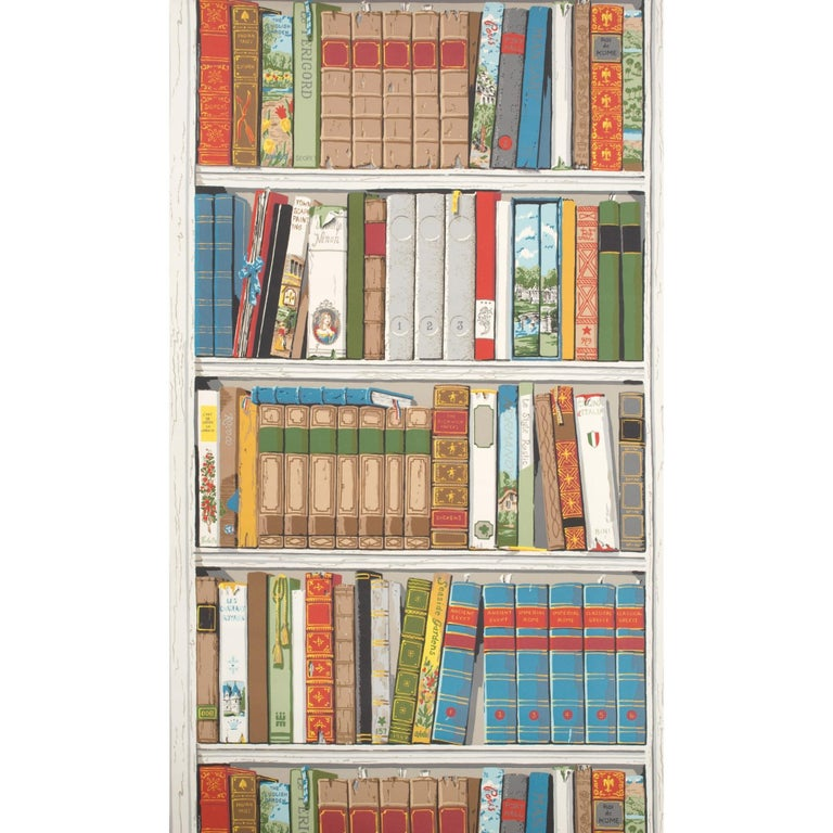 American Brunschwig and Fils Les Biblioteques Multi Color Library Hand-Printed Wallpaper For Sale