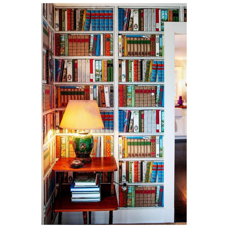 Brunschwig and Fils Les Biblioteques Multi Color Library Hand-Printed Wallpaper For Sale