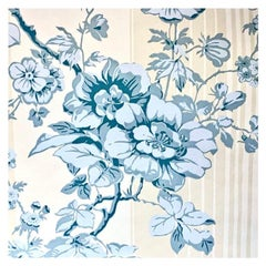 Brunschwig & Fils Blue Floral Chiltern Tring Wallpaper Hand-Printed in England