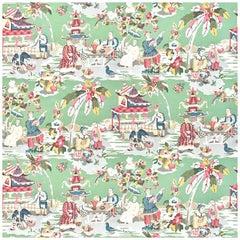 Brunschwig & Fils Chinoiserie Hand-Printed Xian Jade Wallpaper Double Roll