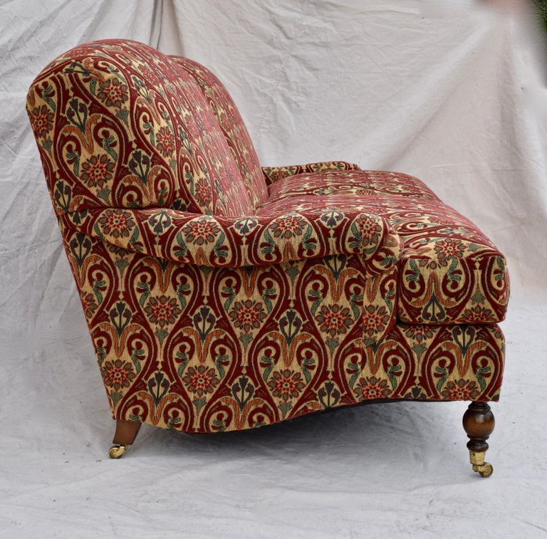 Brass Brunschwig & Fils English Sofa on Casters For Sale