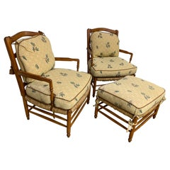 Brunschwig & Fils French Country Armchairs and Ottoman, Set of 3