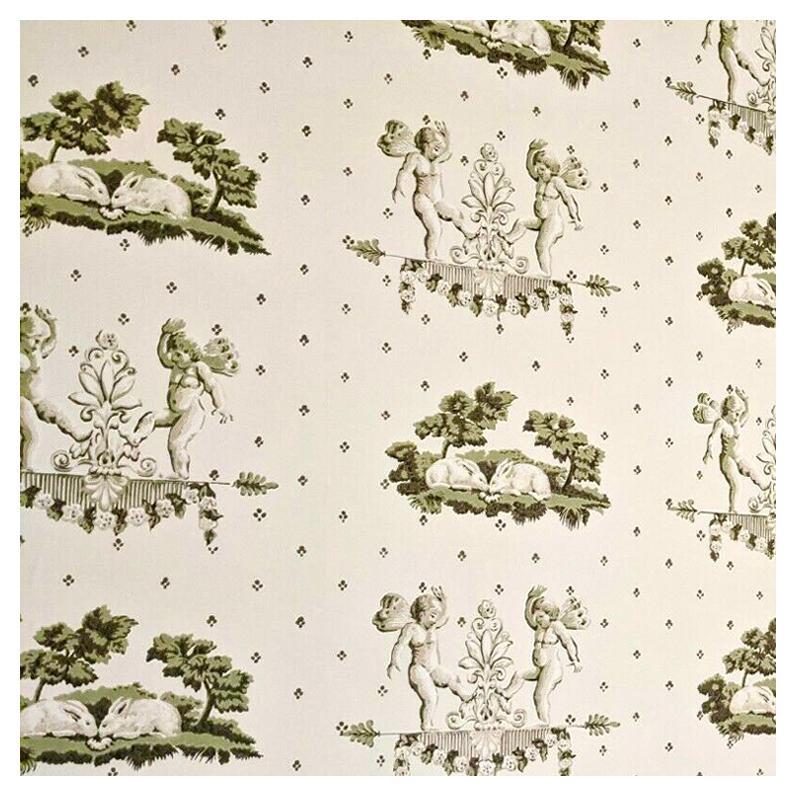 Brunschwig & Fils Hand-Printed Cherubin et Lapins, Wallpaper, Angels and Rabbits