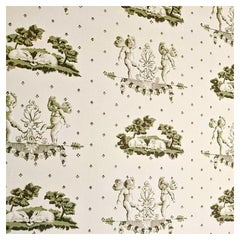 Brunschwig & Fils Hand-Printed Cherubin et Lapins, Wallpaper, Angels and Rabbits