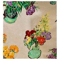 Brunschwig & Fils Les Bouquets Cotton Floral Cream Textile Fabric 1990 Van Gogh
