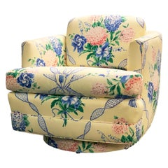 Brunschwig & Fils Swivel Club Chair Pastel Yellow Blue and Pink Floral Hydrangea