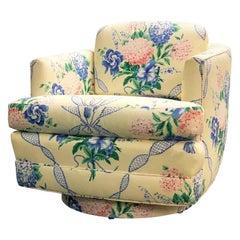 Brunschwig & Fils Swivel Club Chair Yellow Blue Pink Floral Hydrangea Ribbons