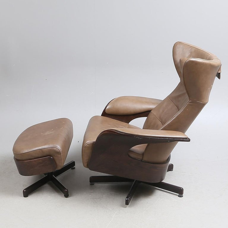 Brunstad Møbler Amanda Leather Armchair with Ottoman For Sale 3