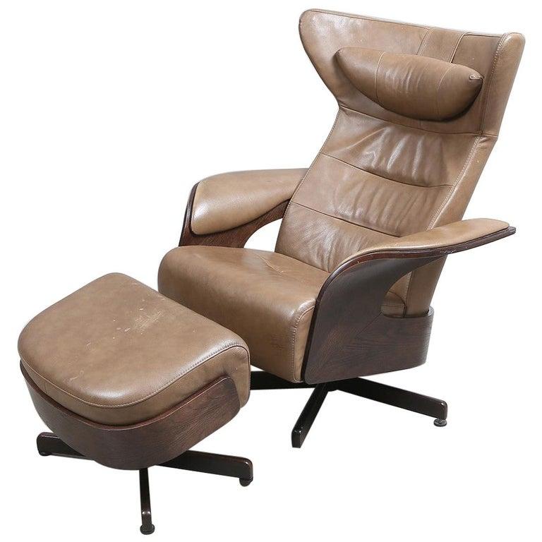 Brunstad Møbler Amanda Leather Armchair with Ottoman For Sale