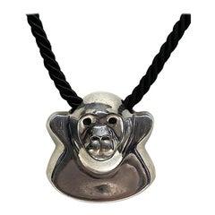 Brusca - Dante Sterling Silver Zoo Series Gorilla Pendant Necklace