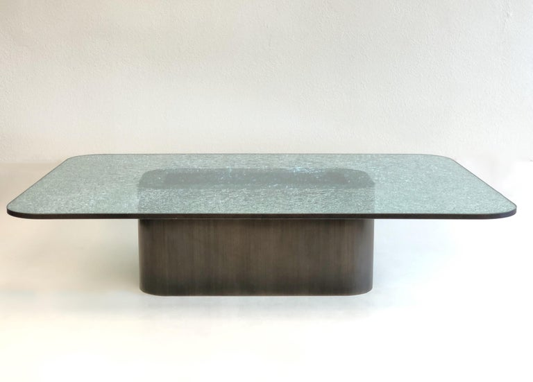 Brush Bronze and Crackle D Glass Cocktail Table by Steve Chase In Excellent Condition For Sale In Palm Springs, CA