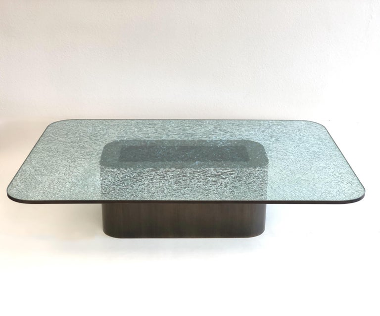 Late 20th Century Brush Bronze and Crackle D Glass Cocktail Table by Steve Chase For Sale