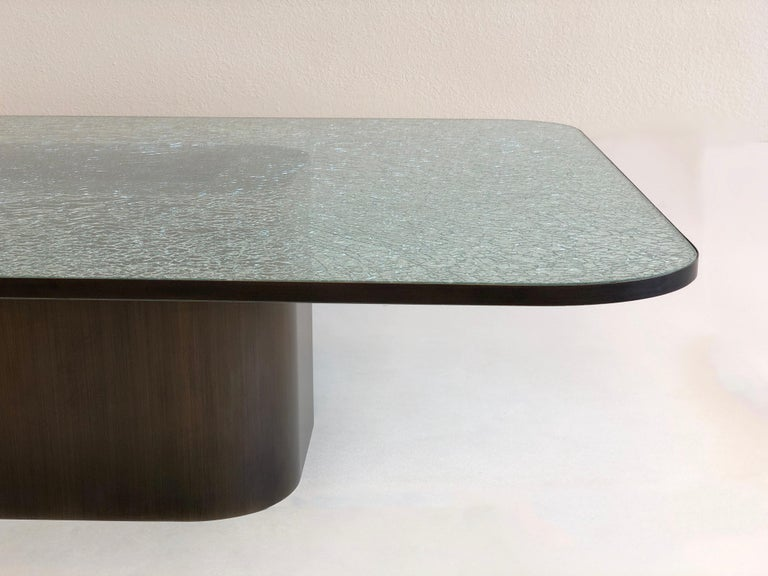 Brush Bronze and Crackle D Glass Cocktail Table by Steve Chase 1