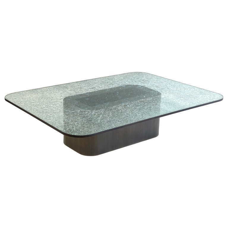 Brush Bronze and Crackle D Glass Cocktail Table by Steve Chase