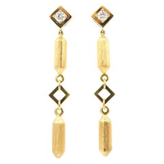 Brushed 18 Karat Gold Bar and Hollow Square Long Earrings