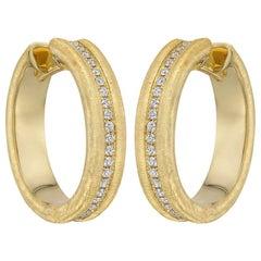 Brushed 18 Karat Yellow Gold and Diamond Hoop Earrings