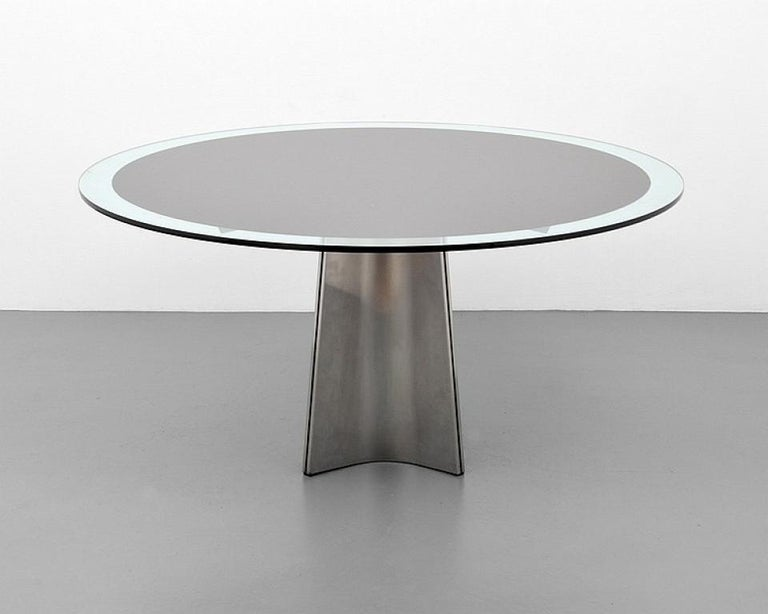 Brushed aluminum and thick glass dining table by Luigi Saccardo produced Arrmet, circa 1970s.