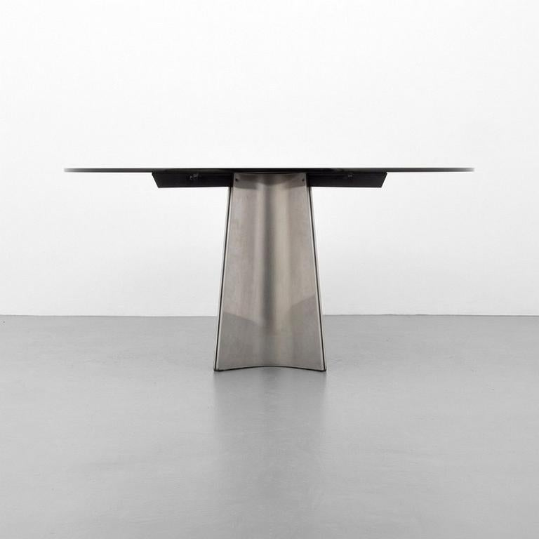 Italian Brushed Aluminum and Glass Dining Table by Luigi Saccardo for Arrmet, 1970s For Sale