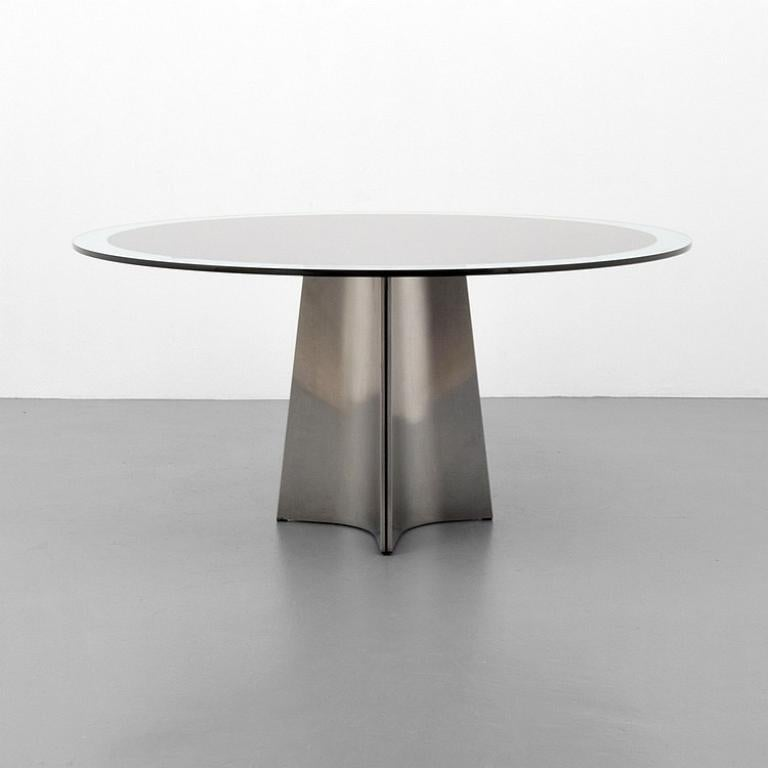Brushed Aluminum and Glass Dining Table by Luigi Saccardo for Arrmet, 1970s In Good Condition For Sale In Geneva, CH