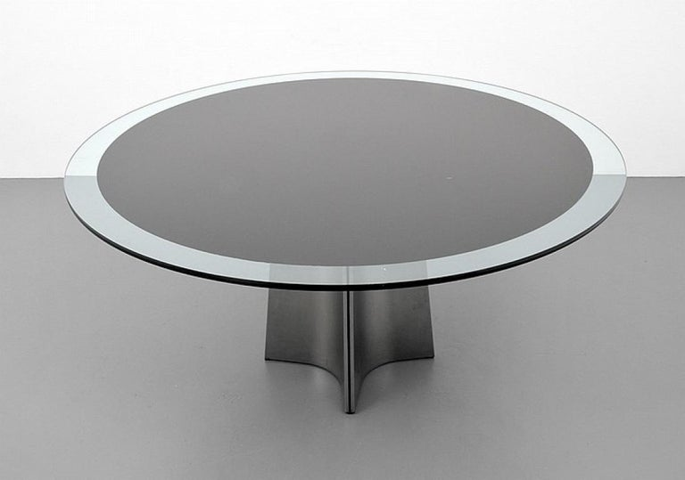 Brushed Aluminum and Glass Dining Table by Luigi Saccardo for Arrmet, 1970s For Sale 1