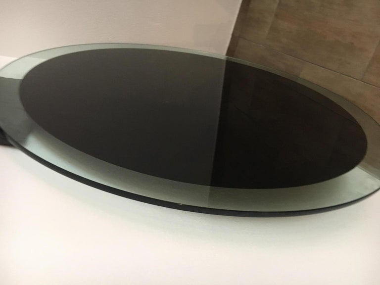 Brushed Aluminum and Glass Dining Table by Luigi Saccardo for Arrmet, 1970s For Sale 4