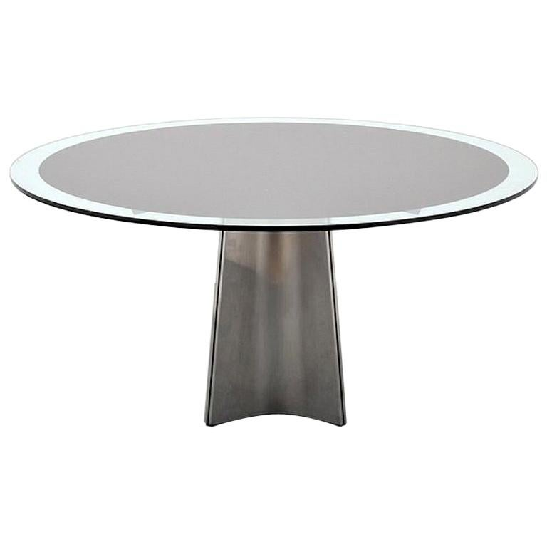 Brushed Aluminum and Glass Dining Table by Luigi Saccardo for Arrmet, 1970s For Sale